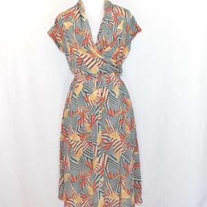 NWT Tucker Geometric Print Cinched Waist Dress
